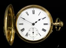 A late Victorian gentleman's 18ct gold full hunting cased keyless lever pocket watch, No. 16669, the white enamelled dial with Roman numerals and subsidiary seconds dial, contained in plain 18ct gold full hunting case, 45mm diameter, case hallmarked London 1900 (gross weight 40.9 grammes)