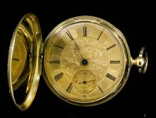 A late 19th Century gentleman's Swiss, 18k gold full hunting cased pocket watch, the gilt dial with floral and foliate engraving to the centre, with Roman numerals and subsidiary seconds dial, contained in a 42mm foliate engraved case, (gross weight 52 grammes)