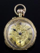 A late 19th Century lady's 18ct gold cased open faced pocket watch, the gilt dial with floral and foliate engraving to the centre, with Roman numerals and subsidiary seconds dial, contained in 30mm foliate engraved case (gross weight 27.2 grammes)
