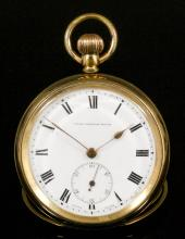 A gentleman's rolled gold cased keyless open faced pocket watch -
