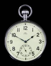 A Stowa KM (Kriegs Marine) World War II German Navy pocket keyless watch, No. 1136, with nineteen jewel compensation balance, breguet balance spring, swan neck regulator, in 57mm chrome plated case, both sides glazed, and with bright contrast dial, in later fitted brass and mahogany deck case