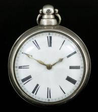 An early Victorian silver pair cased pocket watch by Richard Kevitt of London, No. 9557, the enamelled dial with Roman numerals, the movement with pierced and engraved watch cock and plain pillars, contained in plain silver pair case, 56mm diameter, Birmingham 1837 (three hairline cracks running from centre of dial and movement in need of some work)