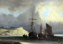 After C. Gabe (?) (19th Century Continental School) - Oil painting - Marine scene - Three sailing boats at anchor with rowing boats unloading and cliffs to background, board 13ins x 18ins, indistinctly signed and inscribed and dated