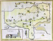 Early 18th Century coloured engravings after Harris's History of Kent -