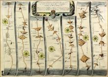 John Ogilby (1600-1675) - Coloured engraving - Map of