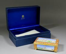 A modern Halcyon Days limited edition enamel rectangular musical box playing