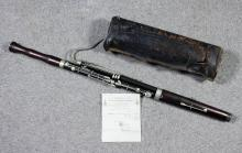 A late 19th Century rosewood bassoon by C.Mahillon and Co of London, 50ins, with original leather carrying bag <br>Provenance: Originally belonged to Sergeant P. Pepper of  1st Lancashire Fusiliers <br>Note: The receipt for this instrument from the manufacturer dated June 6th 1901, for 12 guinea's is included with this lot, together with a small quantity of ephemera relating to sergeant pepper