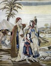 A 19th Century needlework picture of an Eastern scene with a bearded gentleman, lady and child on a pathway, a lady resting in a tent behind and flock of sheep beyond, 27ins x 21ins, in oak frame and glazed, and a Victorian needlework picture worked by Eskine, 1892, with birds, cats, dogs, other animals and flowers, 24ins x 17.5ins, in wood frame and glazed