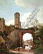 [ Oil painting ] 18th Century English School - View of St. Augustine's Gate, Canterbury, with figure driving three cows to foreground, cottage with mother and child to left side, mahogany panel 21ins x 17ins (panel cracked and repaired), in modern