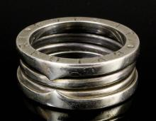 A modern Bulgari silver triple band ring (gross weight 11.5 grammes - ring size U)