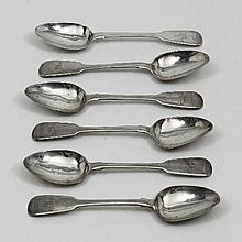 Six Victorian Irish silver fiddle pattern tea