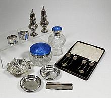 A George V cut glass silver and blue enamel topped