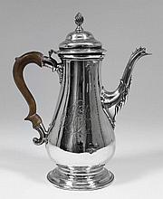 A George III silver baluster shaped coffee pot,