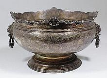 A George V silver circular two handled punch bowl