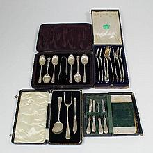 A set of six Victorian silver Kings pattern tea