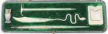 An Edward VII silver five piece desk set,
