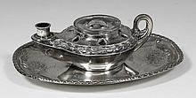 A William IV silver oval inkstand of classical oil