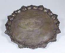 A William IV silver circular salver, the shaped