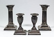 A pair of late Victorian silver pillar