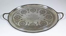 A Victorian silver oval two-handled tray with bead