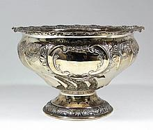 A late Victorian silver circular punch bowl, the