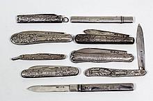 A William IV silver pocket fruit knife, the pistol