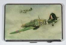 A George VI silver and resin rectangular cigarette case with cant corners,