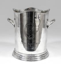 A Louis Roederer plated two-handled champagne bucket, 9ins high, engraved w