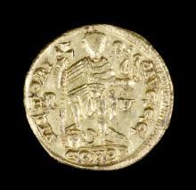 A Valentinian III gold Solidus (Western Roman Empire 419-455 A.D. second pe