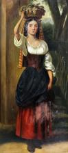 19th Century Italian School - Oil painting - Young girl carrying a basket o