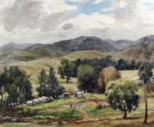 *** John Salvana (1873-1956) - Oil painting - Australian outback scene, can