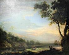 18th/19th Century Continental School - Oil painting - Romantic river landsc