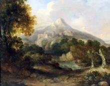 18th/19th Century Continental School - Oil painting - Mountainous landscape