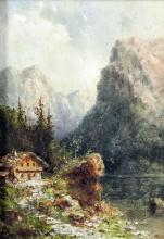 19th Century Continental School - Oil painting - Alpine view with mountains