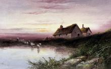 Sarah Louise Kilpack (circa 1840-1909) - Oil painting - Rural landscape wit