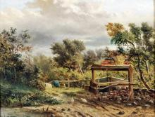 19th Century English School - Oil painting - Country scene with chickens on