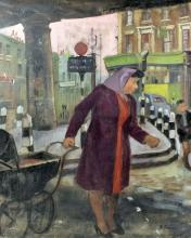 *** Ben Sands (born 1920) - Oil painting - London Street Scene with Mother