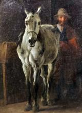 19th Century School - Oil painting - Study of a standing horse with male fi