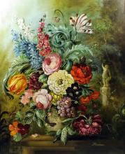 D. Wiseman (?) - Oil painting - Still life with vase of mixed flowers in 17