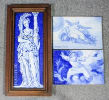 A pair of late 19th Century French faience tile blue and white tiles by Jules Lo