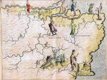 Michael Drayton (1563-1631) - Coloured engraving - Decorative Map of the Co