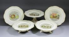 A late 19th Century Wedgwood cream coloured pottery part dessert service, t