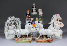 A small collection of English 19th Century Staffordshire pottery, including