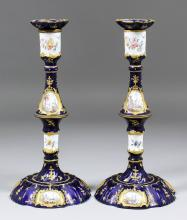 A good pair of late 18th Century South Staffordshire enamel pillar candlesticks wit