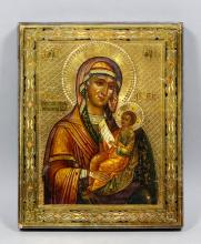 Russian School - Icon - Madonna and Child on a gilt textured ground, heavy
