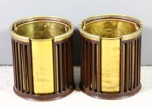 A pair of mahogany and brass mounted cylindrical plate buckets in the Georg