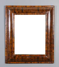A late 17th Century oyster wood veneered rectangular wall mirror, the deep