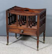 A George III mahogany four division Canterbury with dished top, fitted one