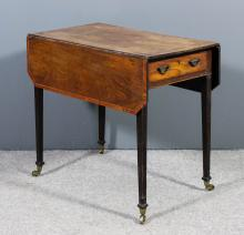A George III mahogany Pembroke table crossbanded in satinwood and inlaid wi