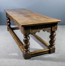 An old oak refectory table of